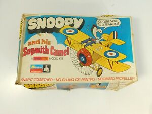 Monogram Snoopy and his Sopwith Camel Snap Tite Model Kit And Box 1970 Vintage