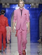 $2,970 BRAND NEW VERSACE TAILOR MADE PINK LINEN SUIT 52 - 42