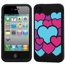 Black Color Hearts Rubber SILICONE Skin Gel Case Cover for Apple iPhone 4 4S