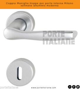 Coppia Maniglia Hoppe per porte interne Milano satinata alluminio moderna