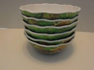 """222 Fifth Sage Boat 6"""" Cereal Bowls 100% Melamine Set of 6 NEW"""