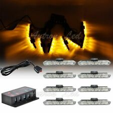 8In1 32W LED Amber Emergency Warning Dash Split Grill Signal Safety Strobe Light