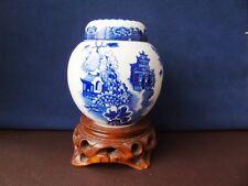1950's Royal Cauldon Ginger Jar - Blue & White Willow Pattern Ginger Jar