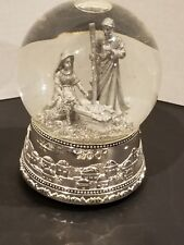 2001 Wallace Silversmiths Nativity Snow Globe Music Box