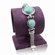 Round Genuine Turquoise Statement Elegant Link Chain Wristband Bangle Bracelet