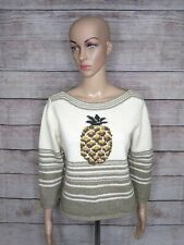 Tommy Bahama Womens Large Scoop Neck Sweater Wool Cotton Nylon Yarn Italy Knit