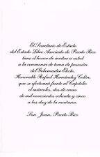 Invitacion Toma Posesion Rafael Hernandez Colon Gobernador Puerto Rico 1985