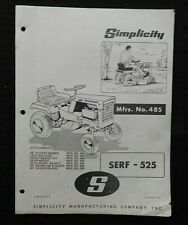 """1960's SIMPLICITY """"SERF-525"""" LAWN TRACTOR OWNERS OPERATORS PARTS MANUAL"""