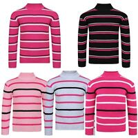 Girls Striped Knitted Jumper Kids Long Sleeve Pullover Sweater Knit Top 3-12 Y