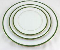 SET 3 PLATES VINTAGE HEINRICH H&C BAVARIA CHINA GOLD GREEN DINNER SALAD DESSERT