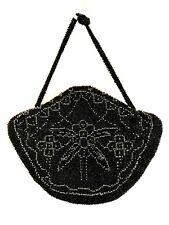 "Vintage Beaded Evening Bag Czechoslovakian Handbag Black Purse Zip Close 8"" Wide"