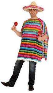 Poncho Mexikaner Mexico Sambrero Umhang Cape Überwurf Kostüm Karneval Cowboy