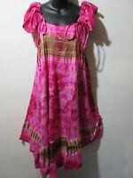 Dress Fits L XL 1X Sundress Pink Drawstring Shoulder Straps A Shaped NWT 132