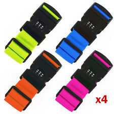 4 x Adjustable Combination Luggage Suitcase Straps Travel Baggage Down Belt Lock