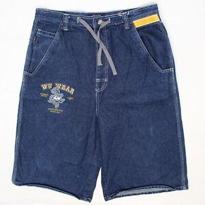 Wu Wear Mens Jeans 36 Blue Denim Yellow Trim Dragon Embroiderey Drawstring