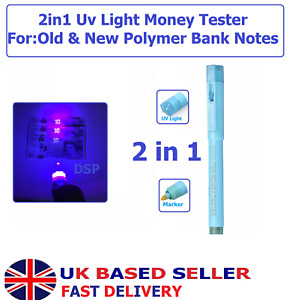 2in1 UV light Counterfeit Fake Forged Bank Note Money Tester Detector Marker Pen