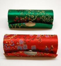 Lot of two vintage Chinese lipstick cases with  Red & Green Damask outside
