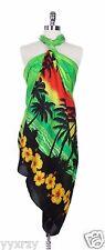 Jumbo Plus Tropical Cruise Beach Luau Sarong Wrap Dress Swim Cover Green Sunset