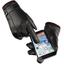 Fashion Mens Leather Gloves Business Warm Touch Screen Gloves Driving Mittens