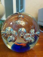 Vtg Heavy Hand Blown Cobalt Blue/Orange Controlled Bubble Art Glass Paperweight