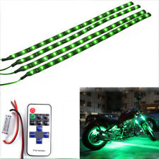 4Pcs Waterproof Motorcycle Green LED Light Strip Kit Remote Control For Kawasaki