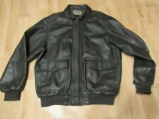 LL Bean Leather Bomber Jacket A-2 G-1 Large USA black