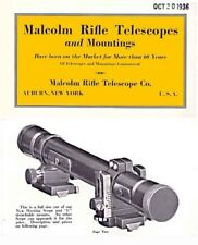 Malcolm Rifle Telescopes and Mountings 1936 Catalog