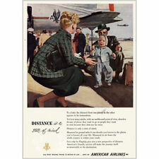 1945 American Airlines: Distance Is a State of Mind Vintage Print Ad