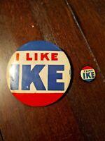 VINTAGE - I Like Ike - Dwight Eisenhower Campaign Buttons (3)