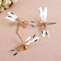 Metal Dragonfly Hair Clip Pearl Bridal Headdress Gold Hairpins Wedding Jewelry