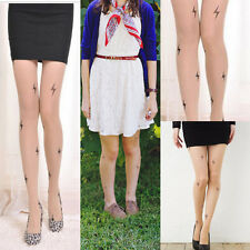 Sheer Beige Nude Pantyhose Lightning Bolt Faux Tattoo Wizard Cosplay Tights OS