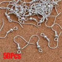 50PCs 925 Silver DIY Ear Hoop Earrings Jewelry Accessory Ear Wire
