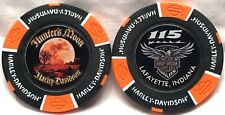 Hunter's Moon Harley Davidson Layfayette,IN 15 Year Annivers. Poker Chip Org/Blk