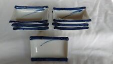 7 small blue and white rectangle Oriental / Asian rice bowls / dishes