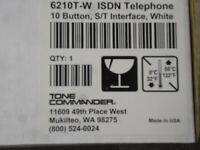 New Tone Commander 6210T-W ISDN Telephone 10 Button S/T Interface White Color