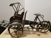 """RARE HANDMADE METAL MODEL EARLY 1900s BICYCLE WITH CANOPY BUGGY 5.5"""" X 9"""""""