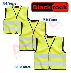 Blackrock Kids Yellow Hi Vis Vest Children High Visibility Safety Hiz Waistcoat