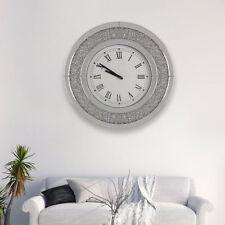 Round Sparkly Diamond Crush Crystal Silver Mirrored Roman Wall Clock Large 50CM