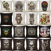 "18"" Skull Print Sofa Home Decor Throw Pillow Case Cushion Cover Pillow case"
