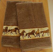 WESTERN SET OF 2 BATH HAND/GUEST  TOWELS,MOCCA,HORSE BORDER,CUSTOM MADE TSR