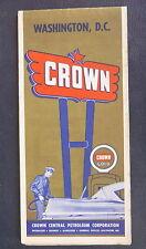 1957 Washington, D.C. street metro   road map Crown oil gas