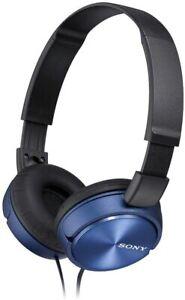 Sony Foldable Stereo Headphones Metallic Blue Over-Ear Head Headset MDR-ZX310