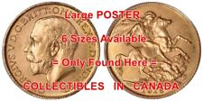 """KING GEORGE V 1916 Gold Sovereign HORSE Dragon = POSTER Coin 6 SIZES 17"""" - 7 FT"""