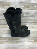 UGG Australia 1873 Black Leather Boots Womens Size 9 Wool Lining VERY NICE