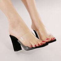 Womens Ladies Chunky Heels Peep Toe Slip On Transparent Sandal Slides Mules 2016