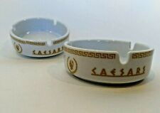 Caesers Palce Ashtrays Whtie with Gold Lettering Las Vegas Tobacciana ash tray