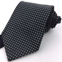 TOMMY HILFIGER USA Classic Wide Navy Grid Green Dotted 100% Silk Neck Tie