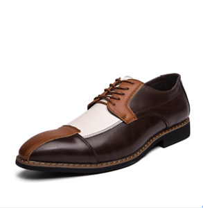 Us 11.5 Mens Color Stitching Leather Dress Shoes Business Formal Oxfords Hot