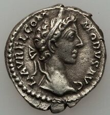 Ancient Rome Commodus 177-192 Ad Denarius,Victory seated left (Ric 666)