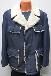 vtg Sears RICH BLUE TWILL RANCH Coat sz 44 Sherpa Fleece 70s/80s jacket soft L